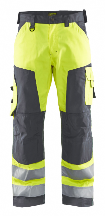 Blaklader 1566 Hi Vis Trouser Without Nail Pockets (Hi Vis Yellow / Mid Grey)